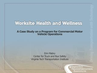 Worksite  Health and  Wellness