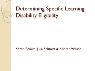 Determining Specific Learning Disability Eligibility