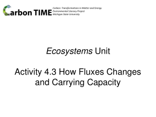 Ecosystems Unit Activity 4.3 How Fluxes Changes and Carrying Capacity