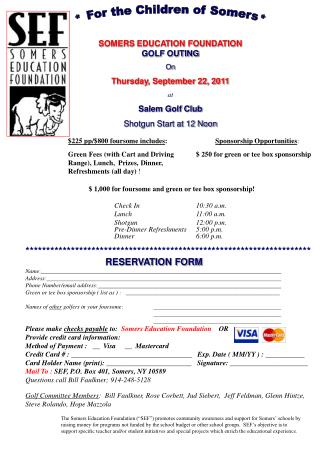 SOMERS EDUCATION FOUNDATION  GOLF OUTING On  Thursday, September 22, 2011 at Salem Golf Club