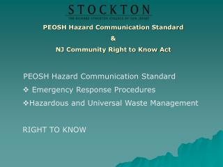 PEOSH  Hazard Communication Standard & NJ Community  Right to Know  Act