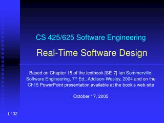 CS 425/625 Software Engineering Real-Time Software Design