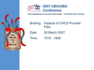 Briefing:	Impacts of CHCS Provider Files Date:	20 March 2007	 Time:	1510 - 1600
