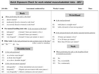 Quick Exposure Check for work-related musculoskeletal risks - QEC