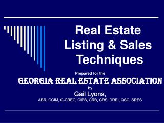 Real Estate Listing & Sales   Techniques