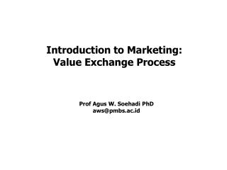 Introduction to Marketing: Value Exchange Process