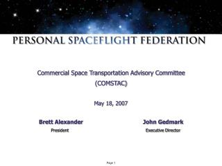 Commercial Space Transportation Advisory Committee  (COMSTAC) May 18, 2007