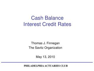 Cash Balance  Interest Credit Rates