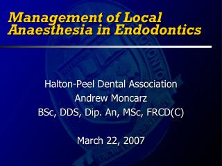 Management of Local Anaesthesia in Endodontics