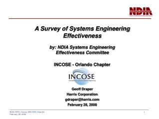 A Survey of Systems Engineering Effectiveness by: NDIA Systems Engineering
