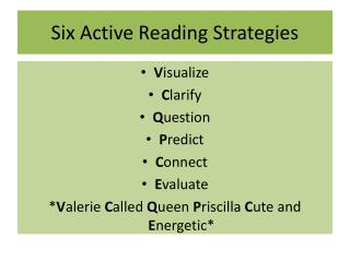 Six Active Reading Strategies