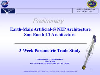 Earth-Mars Artificial-G NEP Architecture Sun-Earth L2 Architecture 3-Week Parametric Trade Study