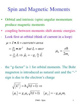 Spin and Magnetic Moments