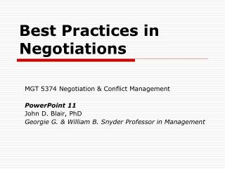 Best Practices in Negotiations