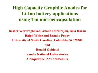 High Capacity Graphite Anodes for  Li-Ion battery applications  using Tin microencapsulation