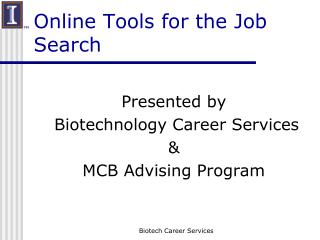 Online Tools for the Job Search