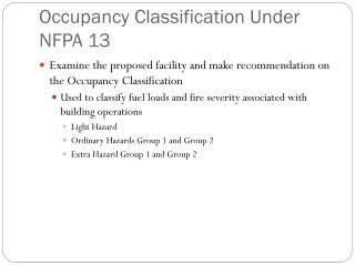 Occupancy Classification Under NFPA 13