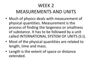 WEEK 2 MEASUREMENTS AND UNITS
