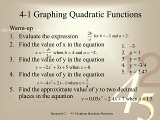 4-1 Graphing Quadratic Functions