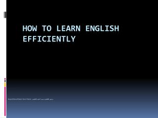 How to Learn English Efficiently