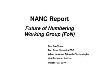 NANC Report  Future of Numbering Working Group FoN