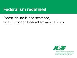 Federalism redefined