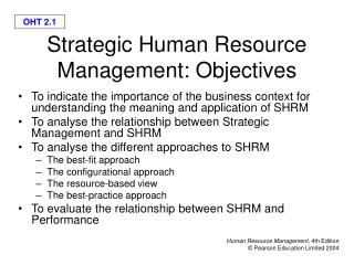 Strategic Human Resource Management: Objectives