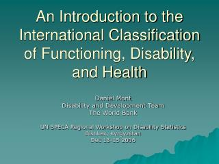 An Introduction to the International Classification of Functioning, Disability, and Health