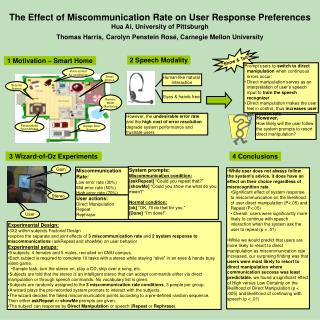 The Effect of Miscommunication Rate on User Response Preferences Hua Ai, University of Pittsburgh