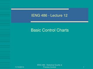 IENG 486 - Lecture 12