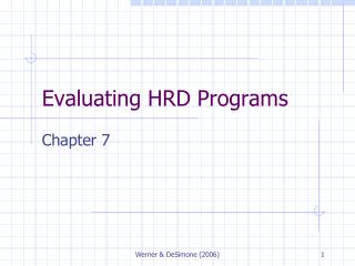 Evaluating HRD Programs