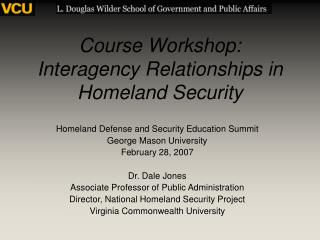 Course Workshop: Interagency Relationships in Homeland Security