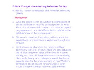 Political Changes characterizing the Modern Society