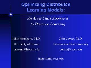 Optimizing Distributed  Learning Models: