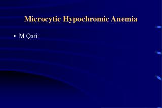Microcytic Hypochromic Anemia
