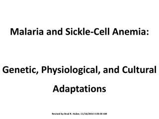 Malaria  and Sickle-Cell  Anemia: Genetic, Physiological, and Cultural  Adaptations