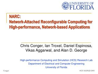 NARC:  Network-Attached Reconfigurable Computing for High-performance, Network-based Applications