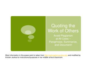 Quoting the Work of Others