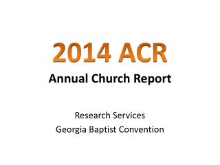 Annual Church Report