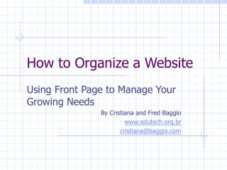 How to Organize a Website