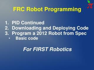 FRC Robot Programming