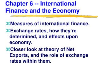 Chapter 6 -- International Finance and the Economy