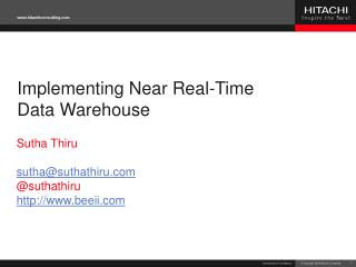 Implementing Near Real-Time Data Warehouse