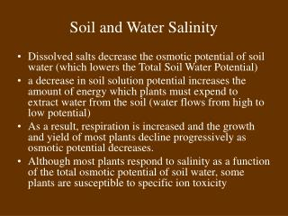 Soil and Water Salinity