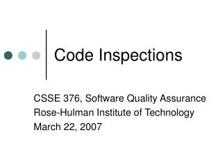 Code Inspections