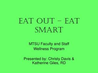 Eat Out – Eat Smart