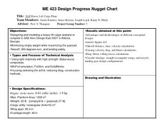 ME 423 Design Progress Nugget Chart