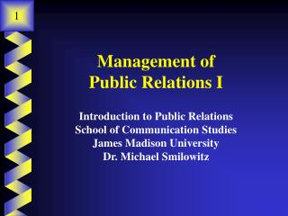 Management of  Public Relations I