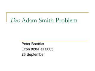 Das  Adam Smith Problem