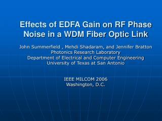 Effects of EDFA Gain on RF Phase Noise in a WDM Fiber Optic Link
